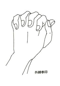 楞嚴咒六种手印:根本印、金剛拳印、金剛拳內縛印、金剛拳外縛印、大白傘蓋佛頂印、金剛合掌印!(楞严经中楞严咒梵文)